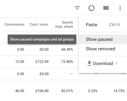 Pause Campaigns Adwords
