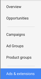 Ads and Extensions Adwords