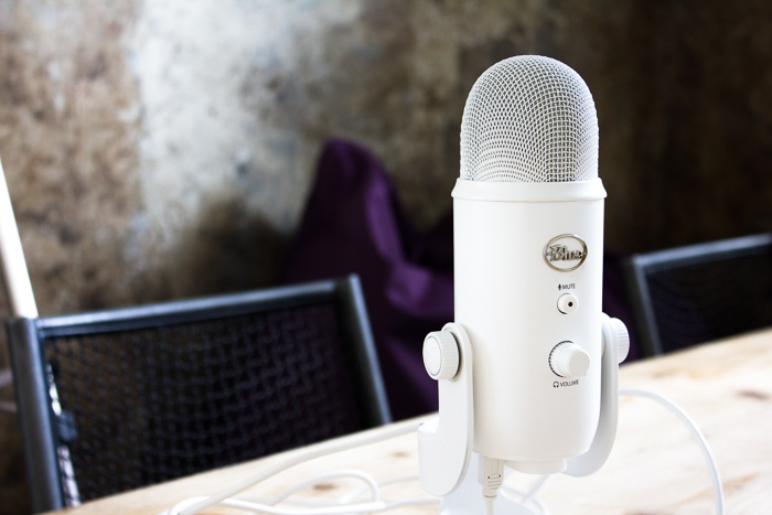 Microphone on a table ready for podcasts