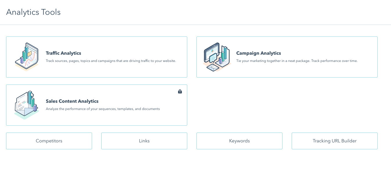 Analytics Tool On HubSpot Home Screen Showing Tabs To Go To Competitors and Keywords