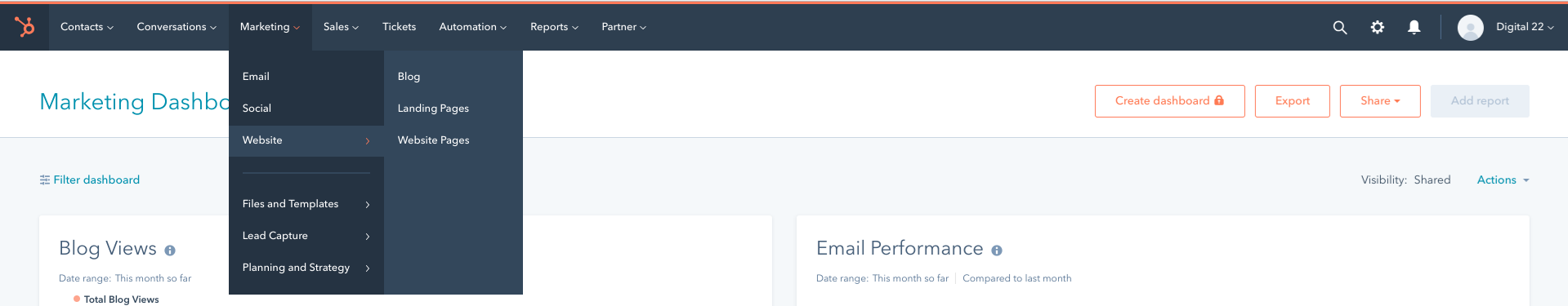 Control Panel Within HubSpot
