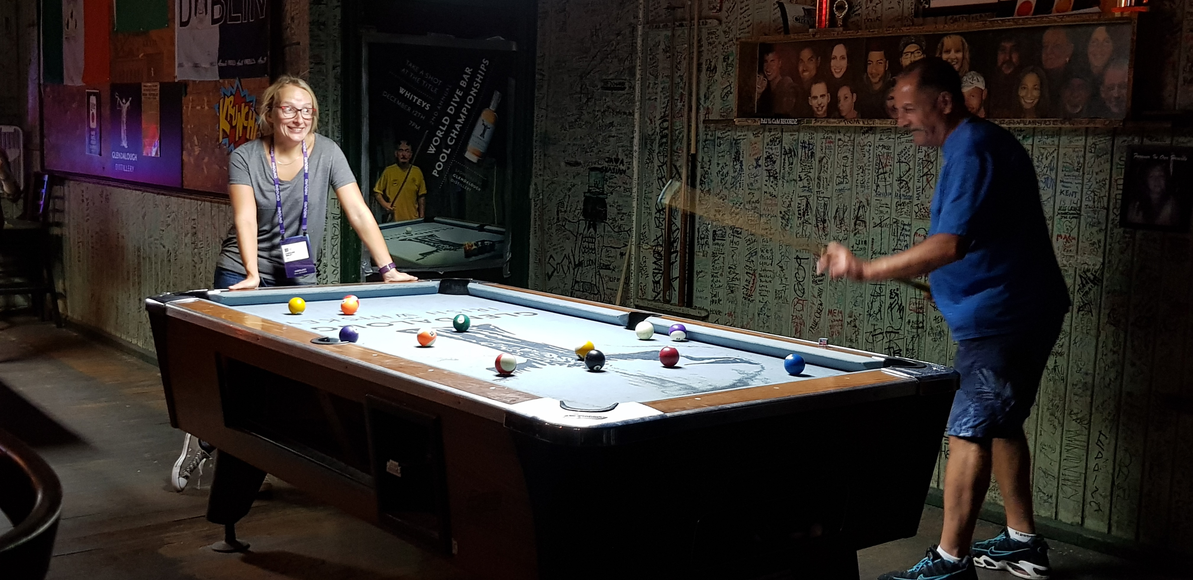caz woman playing pool with jerrys mate man in croke park south boston street scene inbound 18