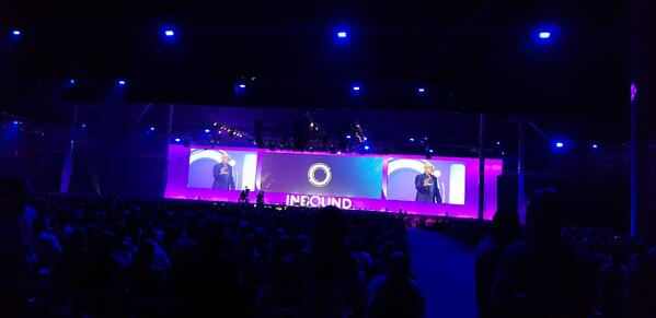wide shot of deepak chopra on stage giving keynote talk at inbound 18