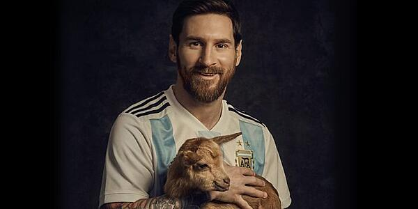 Messi with a goat