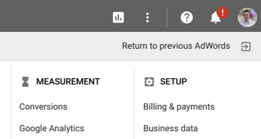 Old Adwords Setting