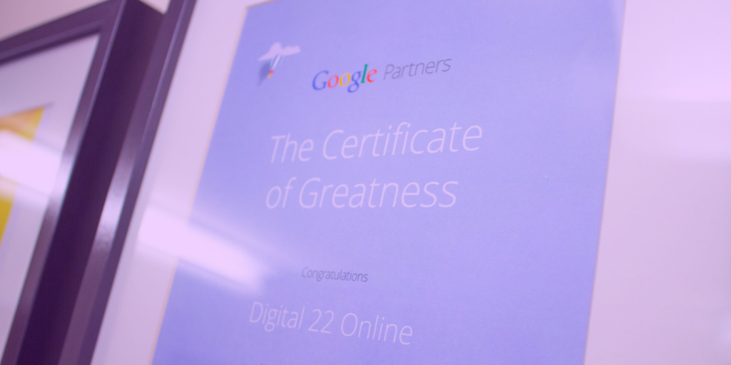 Google certificate awarded to Digital 22