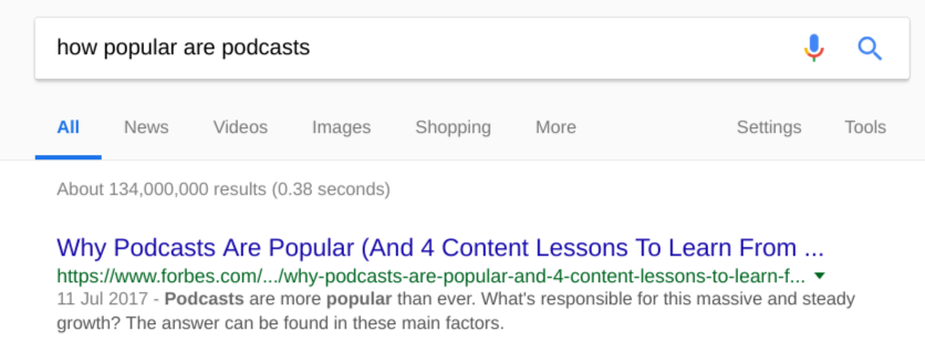 Google search of how popular are podcasts