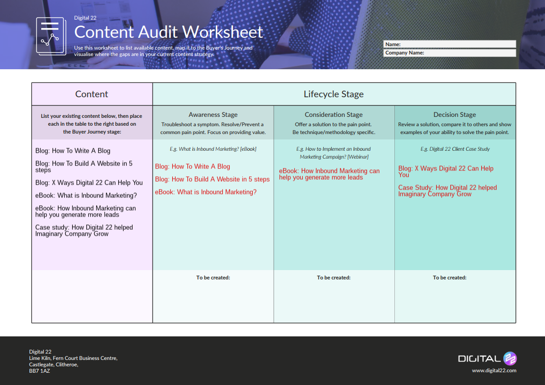 Digital 22 Content Audit Template completed