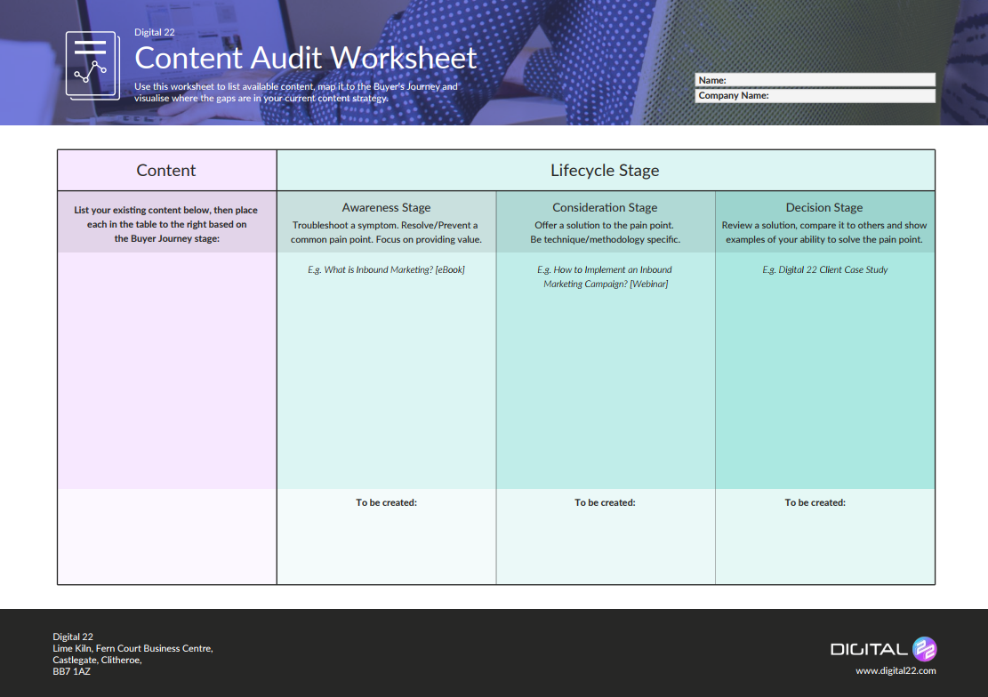 Digital 22 Content Audit Template
