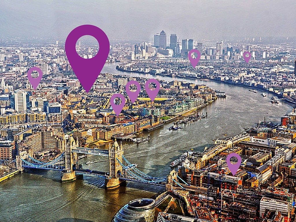 location markers over London