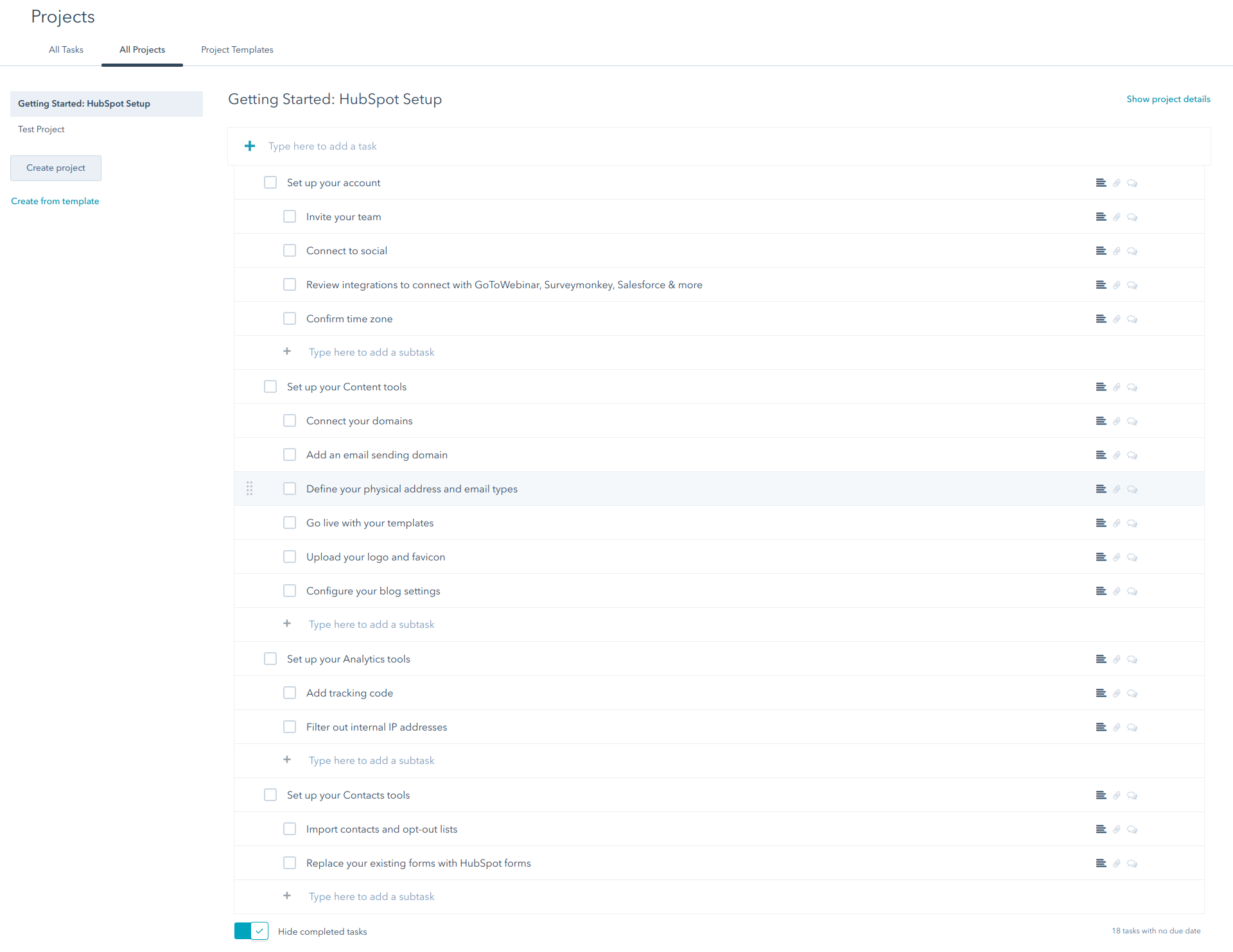 HubSpot Projects with a list of to do tasks