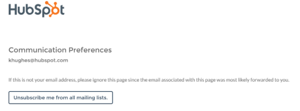 HubSpot email unsubscribe