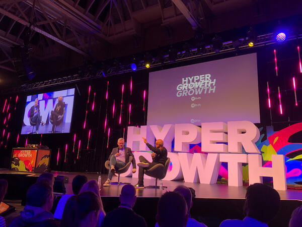 HubSpot CEO Brian Halligan and Drift Founder David Cancel on stage at HYPERGROWTH 19