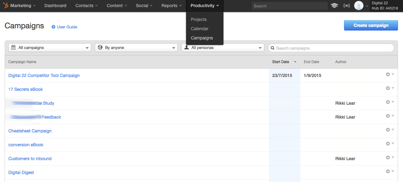HubSpot productivity tab