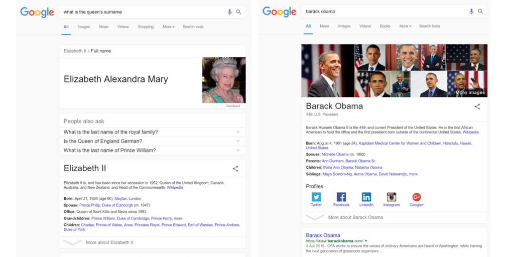 knowledge graph example results pages
