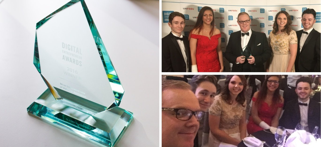 A photo of the team and the award