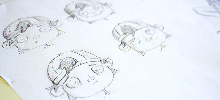 penciled drawings of characters