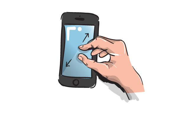 illustrated mobile phone pinch zoom