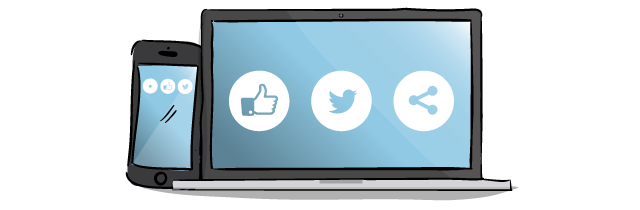 illustrated laptop and mobile with social media icons