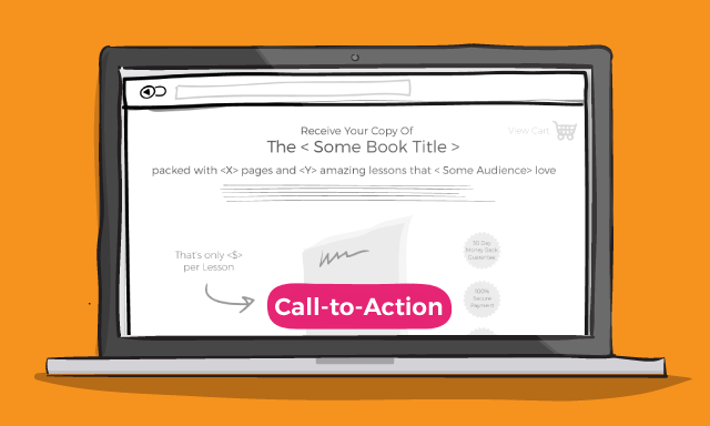 illustrated call to action on a laptop