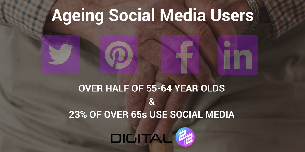 old man with stick and stats about social media
