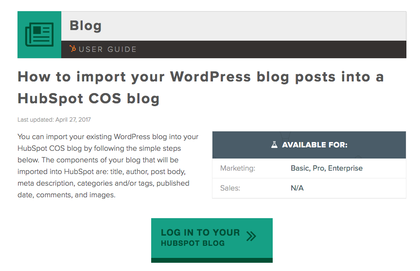 Importing your blog from WordPress to HubSpot