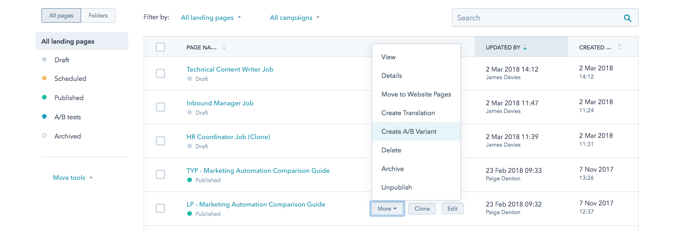 Running A/B test on a landing page on HubSpot