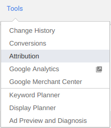 Attribution Tab in Adwords