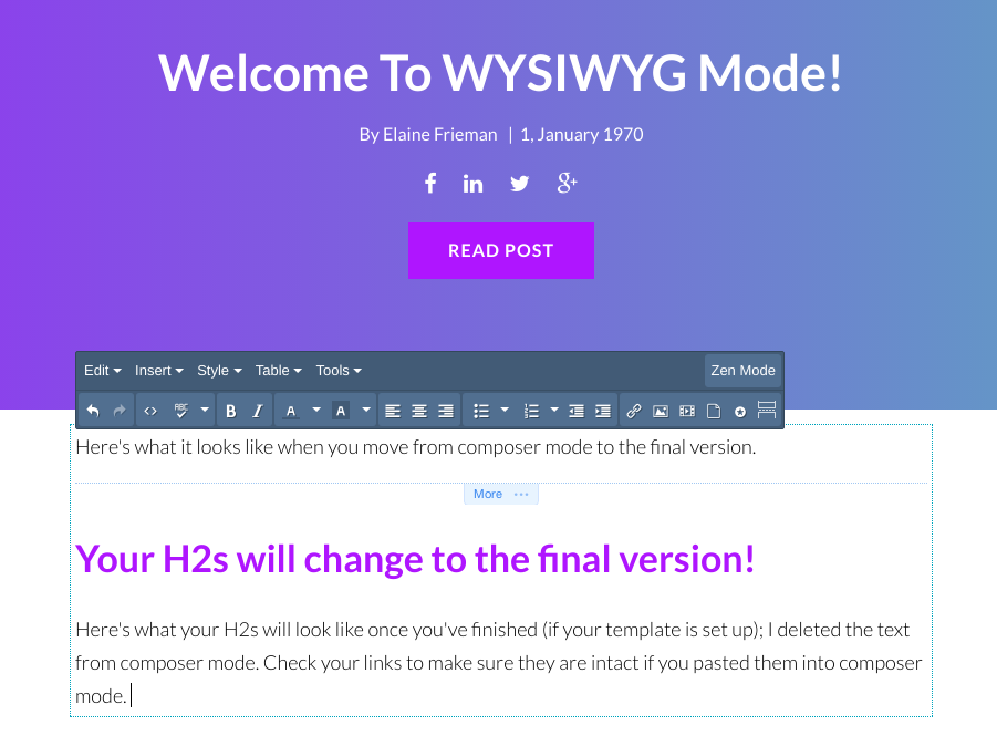 writing in the wysiwyg editor is easy