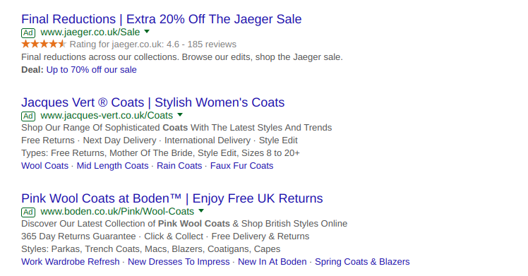 Example Google AdWords search