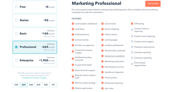 Hubspot Pricing Options