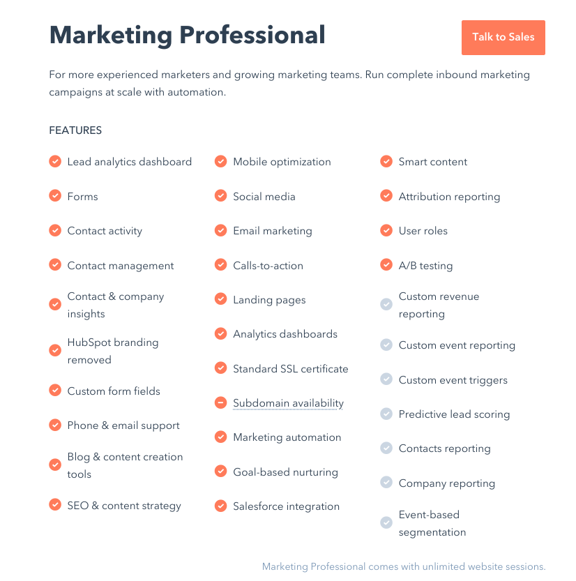 HubSpot's professional package and features