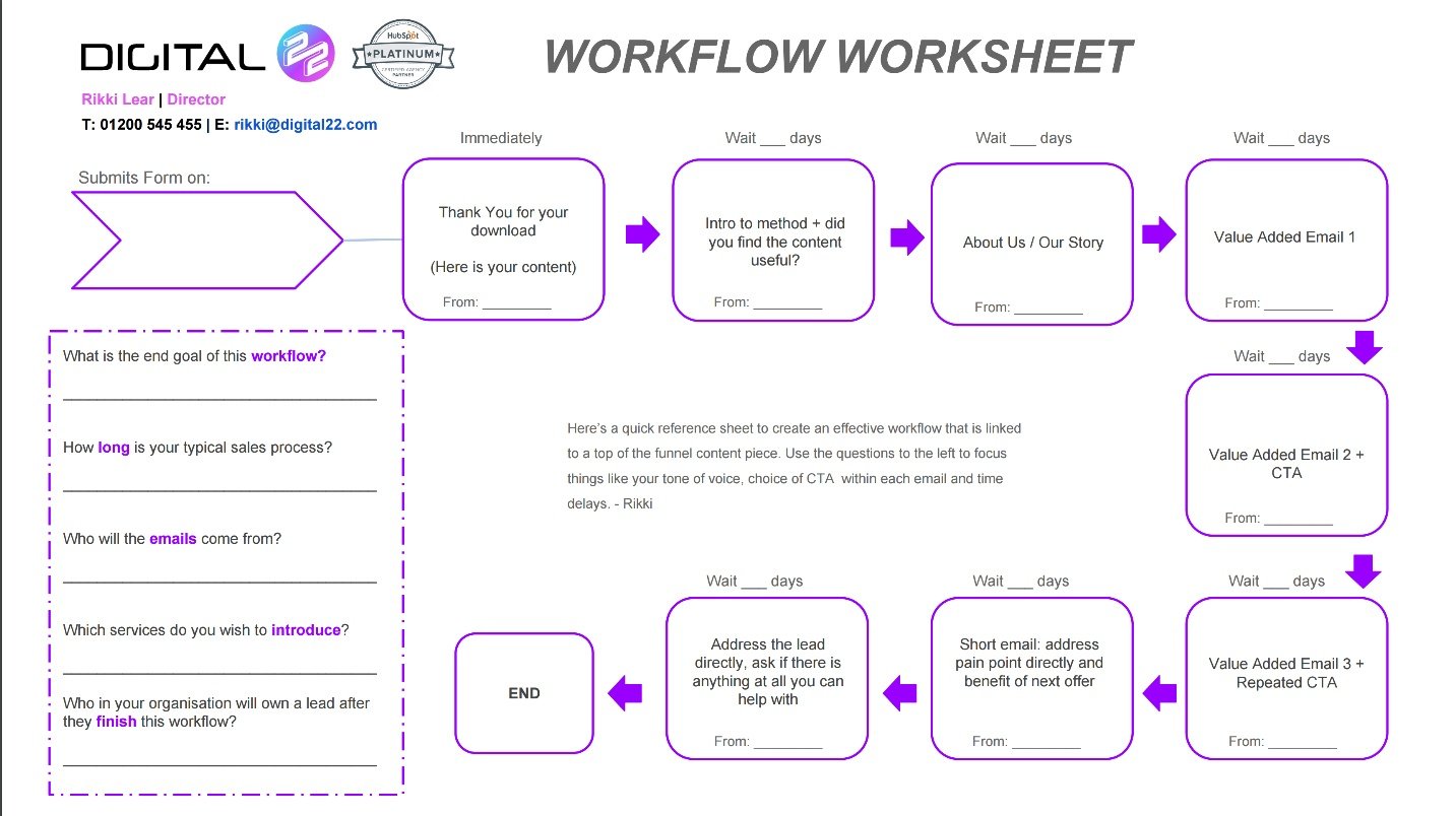 Workflow worksheet