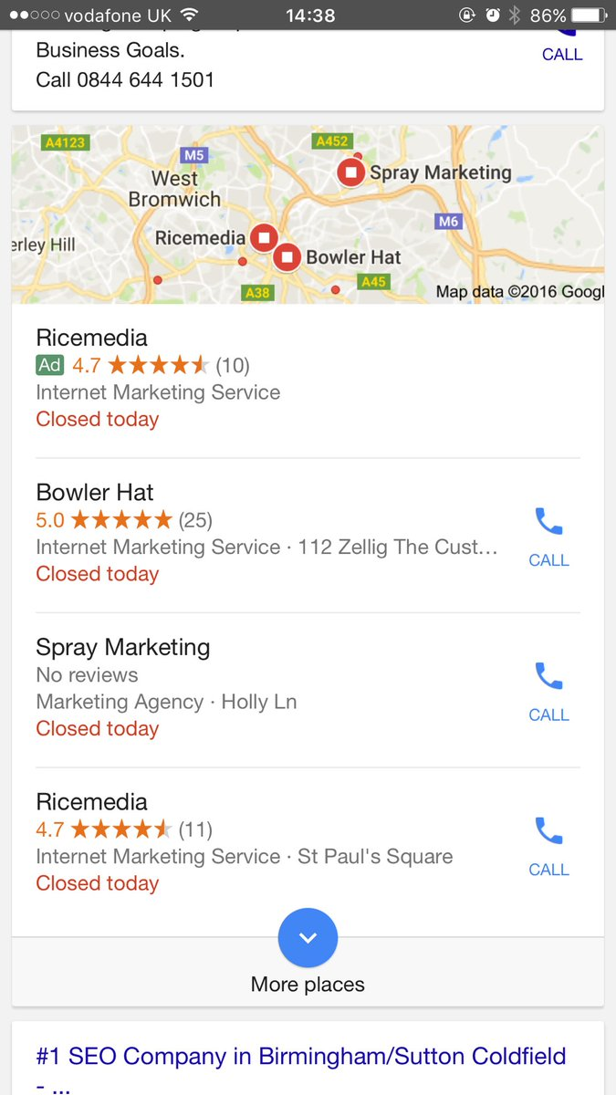paid ad in local results pack at top of SERP