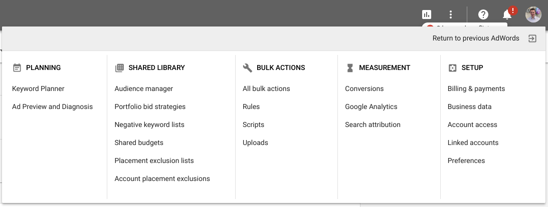 Adwords Options Menu