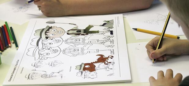 character conepts being drawn by kids