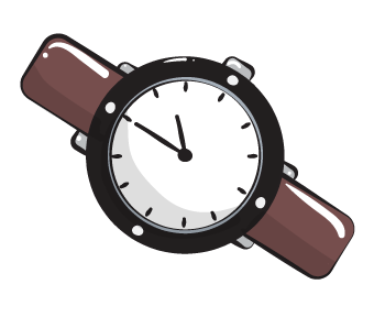 clock time watch cartoon graphic