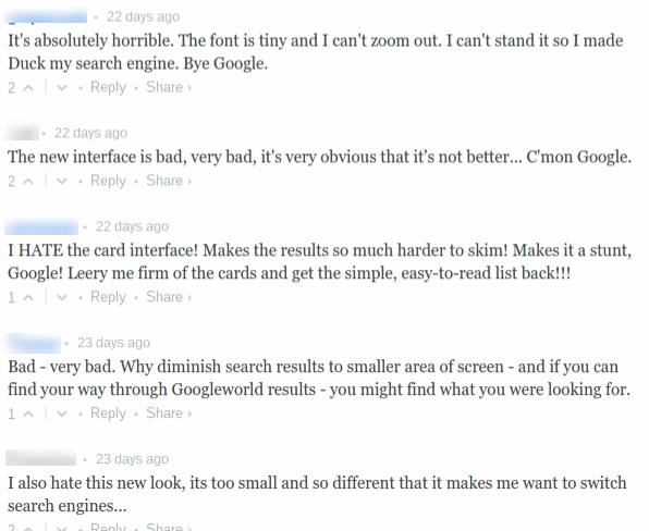 comments google interface