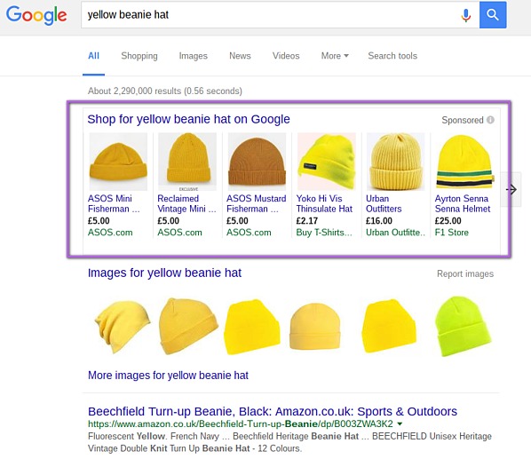google shopping yellow beanie hat