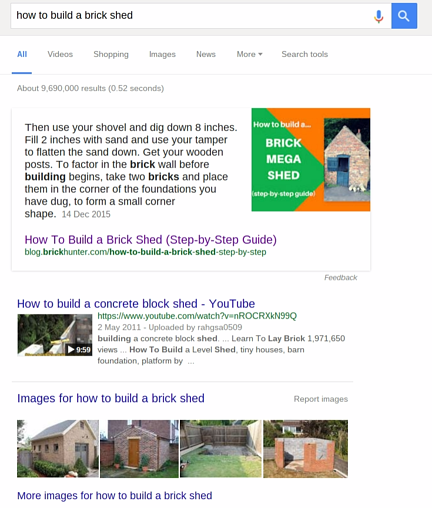 how to build a brick shed featured snippet