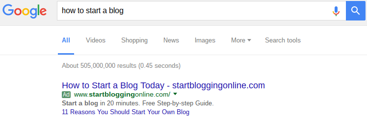 example of inbound ad in google search