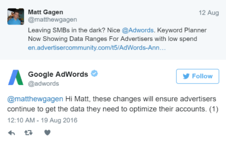 adwords twitter reply
