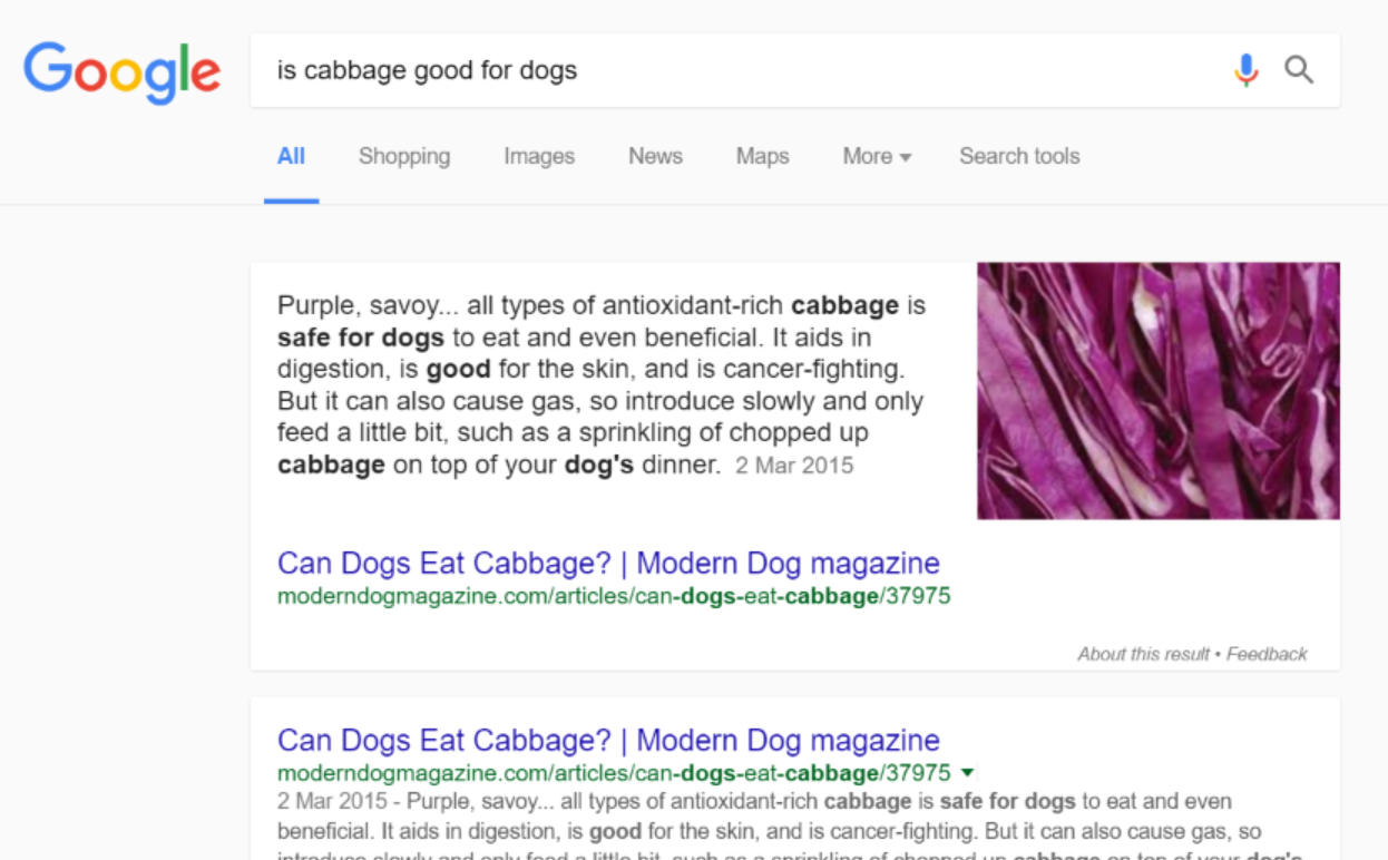knowledge graph fed result