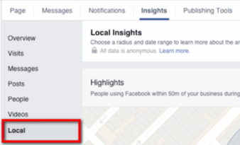 facebook local insights tab