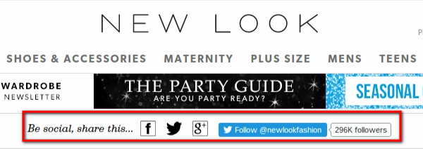 new look website social icons
