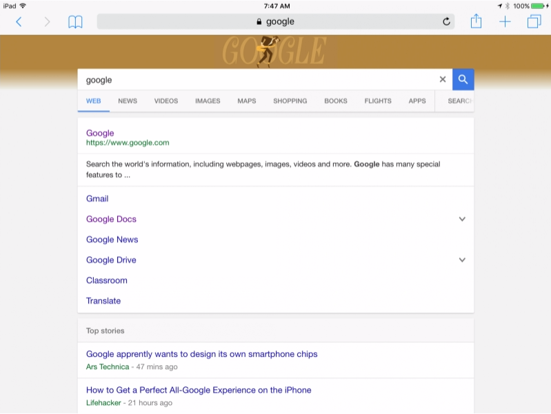 new google interface on tablet