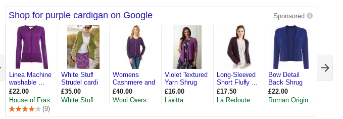 purple cardigan google shopping