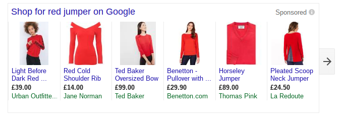 red jumper google shopping