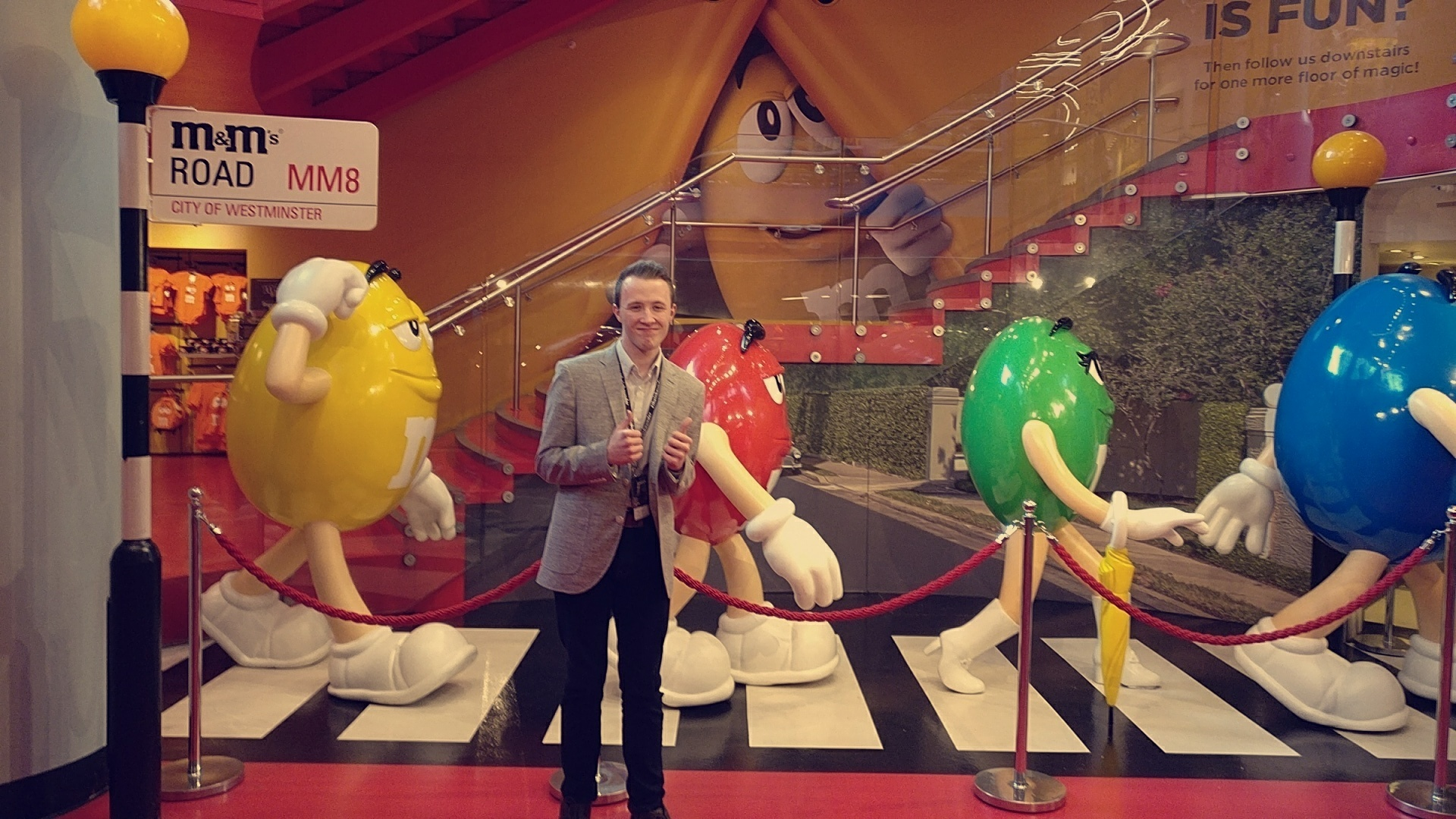 sam at M&M shop