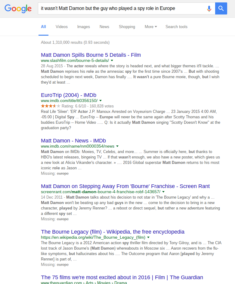 non-rank brained search results